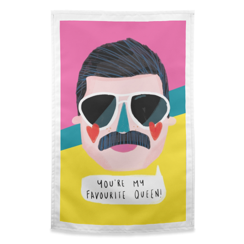 FAVOURITE QUEEN - funny tea towel by Nichola Cowdery