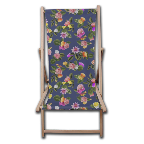 Frida Floral (Blue) - canvas deck chair by Desirée Feldmann