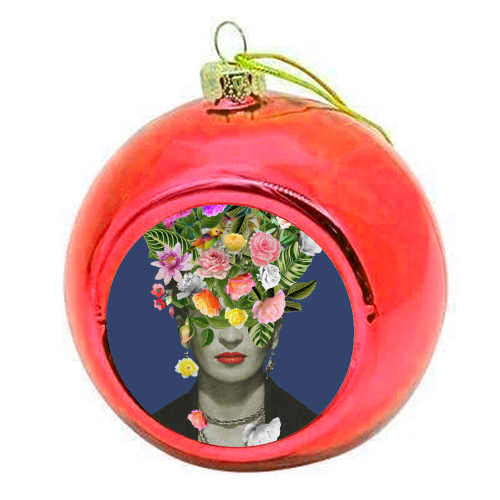 Frida Floral (Blue) - colourful christmas bauble by Desirée Feldmann