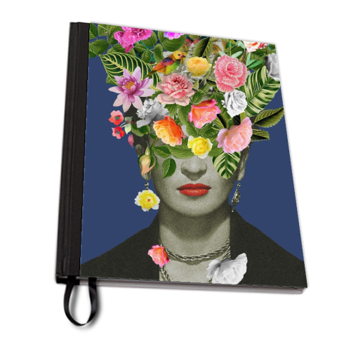 Frida Floral (Blue) - designed notebook by Desirée Feldmann