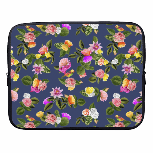 Frida Floral (Blue) - designer laptop sleeve by Desirée Feldmann