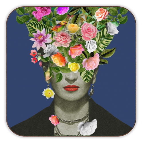 Frida Floral (Blue) - personalised drink coaster by Desirée Feldmann