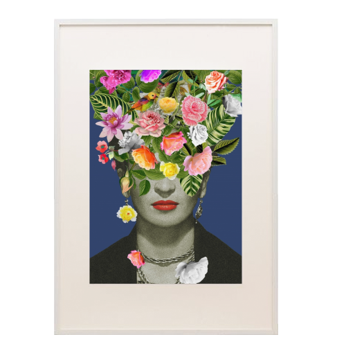 Frida Floral (Blue) - printed framed picture by Desirée Feldmann