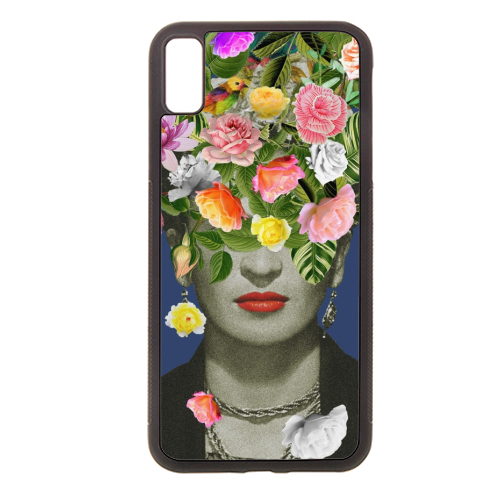 Frida Floral (Blue) - Rubber phone case by Desirée Feldmann