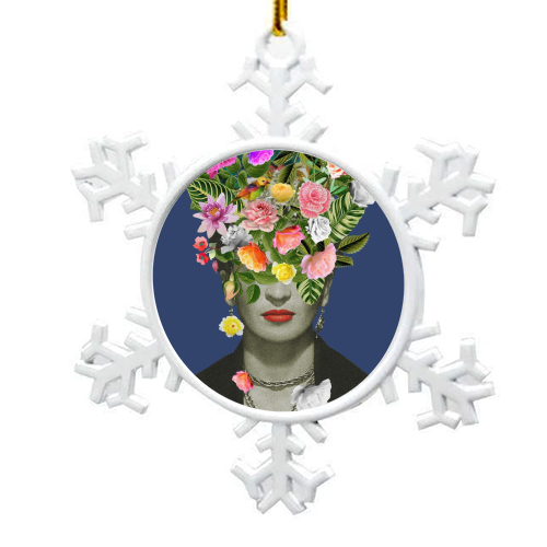 Frida Floral (Blue) - snowflake decoration by Desirée Feldmann