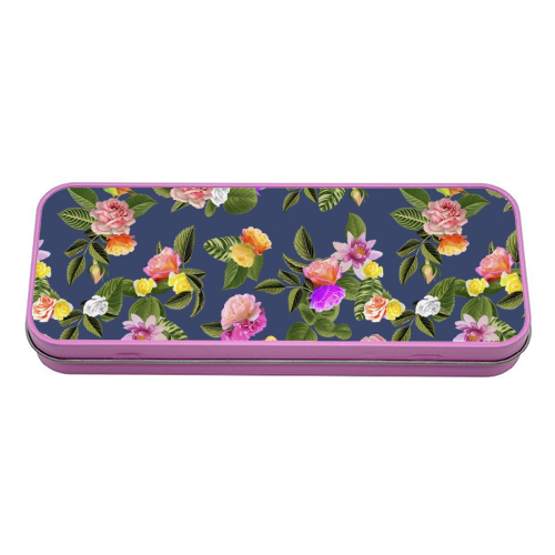 Frida Floral (Blue) - tin pencil case by Desirée Feldmann