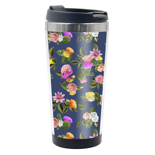 Frida Floral (Blue) - travel water bottle by Desirée Feldmann