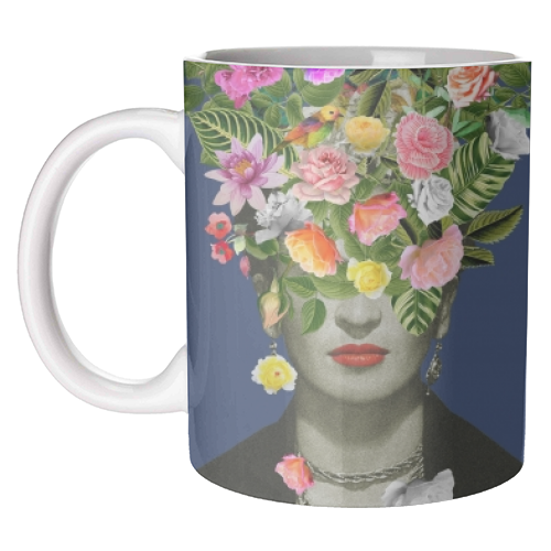 Frida Floral (Blue) - unique mug by Desirée Feldmann