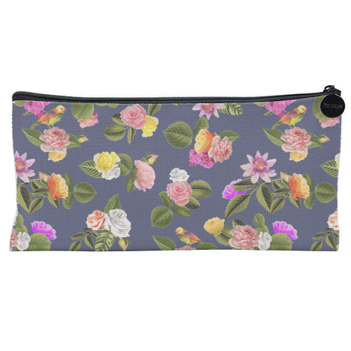 Frida Floral (Blue) - unique pencil case by Desirée Feldmann