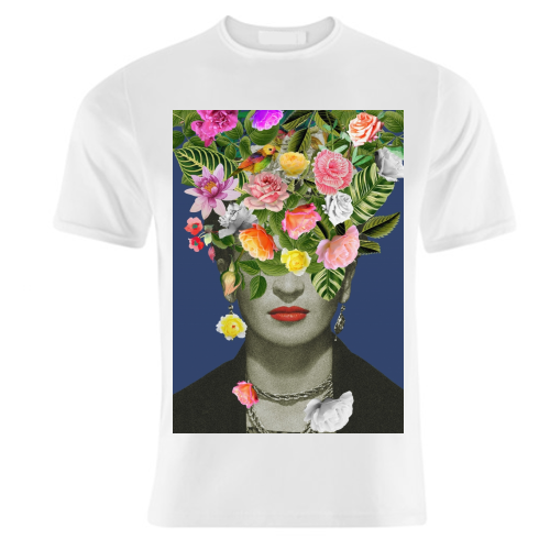 Frida Floral (Blue) - unique t shirt by Desirée Feldmann