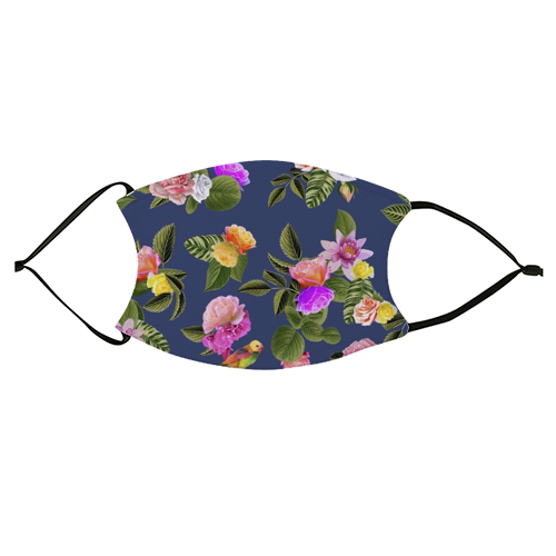 Frida Floral (Blue) - washable face mask by Desirée Feldmann