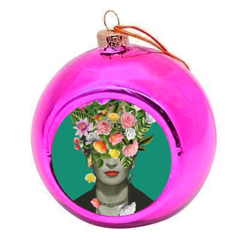 Frida Floral (Green) - colourful christmas bauble by Desirée Feldmann