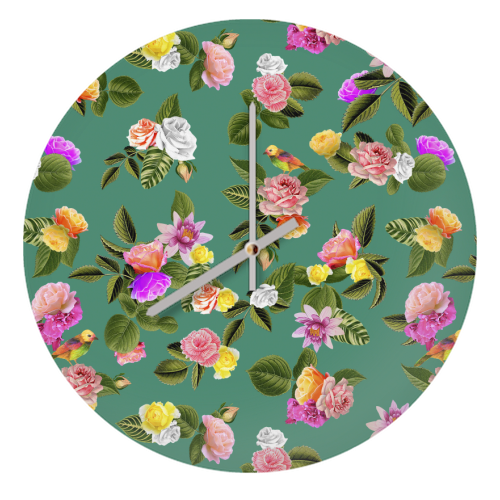 Frida Floral (Green) - creative clock by Desirée Feldmann