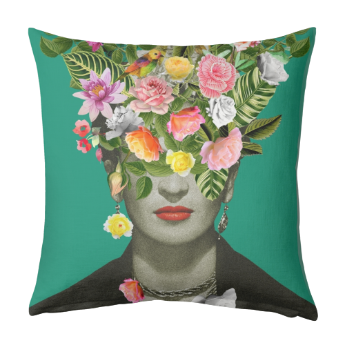Frida Floral (Green) - designed cushion by Desirée Feldmann