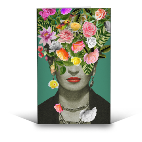 Frida Floral (Green) - funny greeting card by Desirée Feldmann