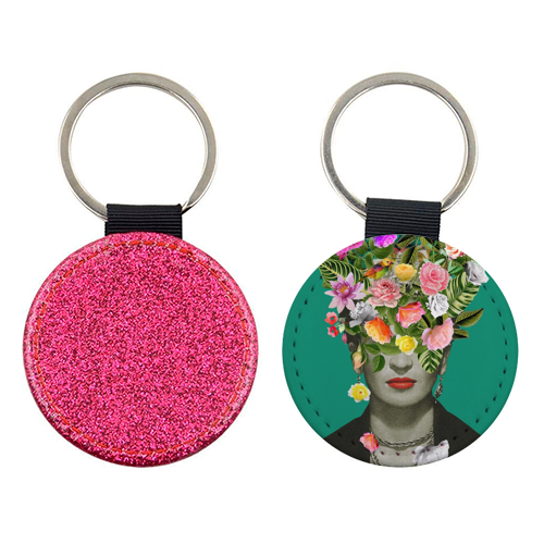 Frida Floral (Green) - personalised picture keyring by Desirée Feldmann