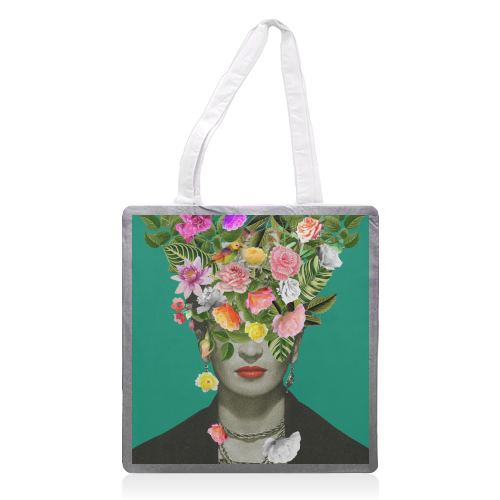 Frida Floral (Green) - printed tote bag by Desirée Feldmann