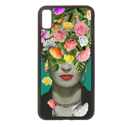 Frida Floral (Green) - Rubber phone case by Desirée Feldmann
