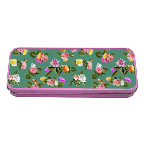 Frida Floral (Green) - tin pencil case by Desirée Feldmann