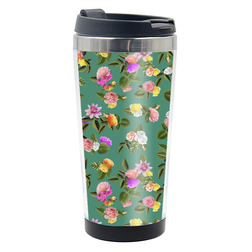 Frida Floral (Green) - travel water bottle by Desirée Feldmann