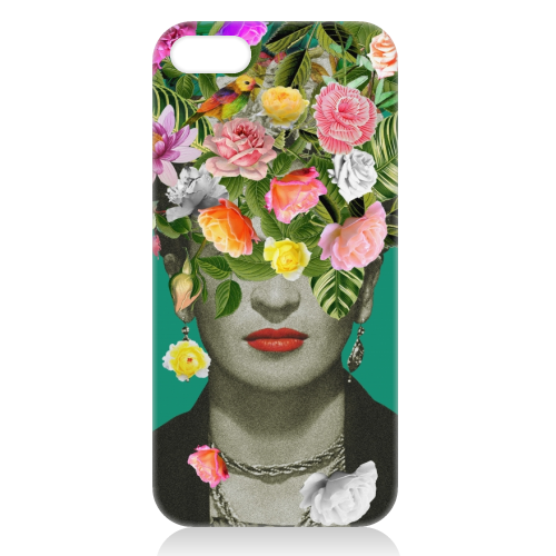 Frida Floral (Green) - unique phone case by Desirée Feldmann