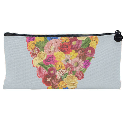 Heart Floral (Blue) - unique pencil case by Desirée Feldmann