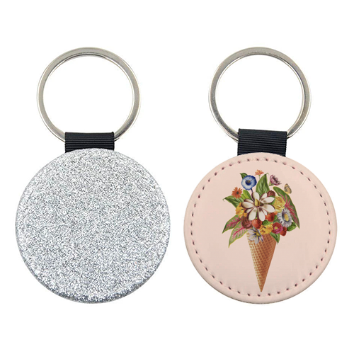 Floral Ice Cream (Salmon) - personalised picture keyring by Desirée Feldmann