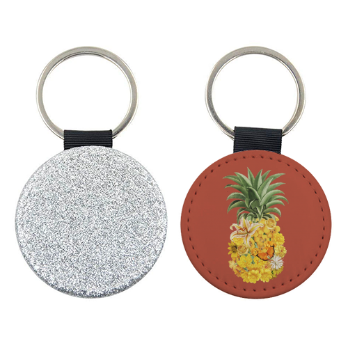 Pineapple Floral (Red) - personalised picture keyring by Desirée Feldmann