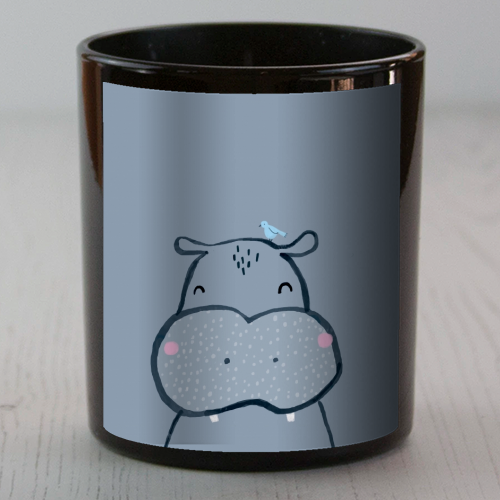 Inky hippo - Candle by lauradidthis
