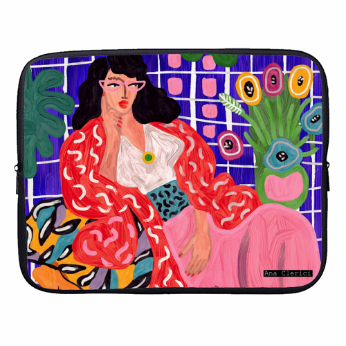 Red Coat - designer laptop sleeve by Ana Clerici