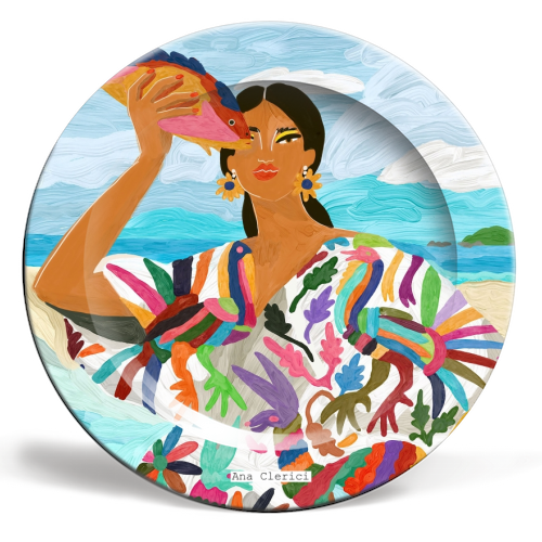 Mexican Colors - ceramic dinner plate by Ana Clerici