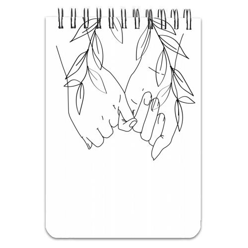 Pinky Promise Line Art with Leaves - designed notebook by Toni Scott