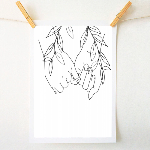 Pinky Promise Line Art with Leaves - original print by Toni Scott