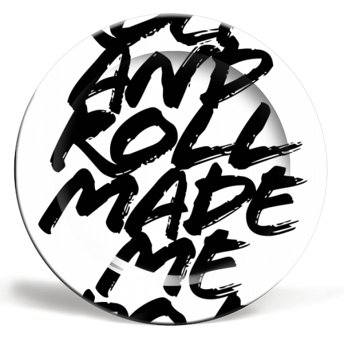 Rock and Roll Made Me Do It Grunge Caps - ceramic dinner plate by Toni Scott
