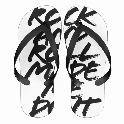 Rock and Roll Made Me Do It Grunge Caps - funny flip flops by Toni Scott