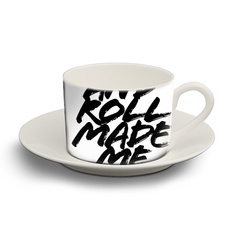 Rock and Roll Made Me Do It Grunge Caps - personalised cup and saucer by Toni Scott