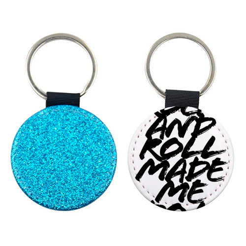 Rock and Roll Made Me Do It Grunge Caps - personalised picture keyring by Toni Scott