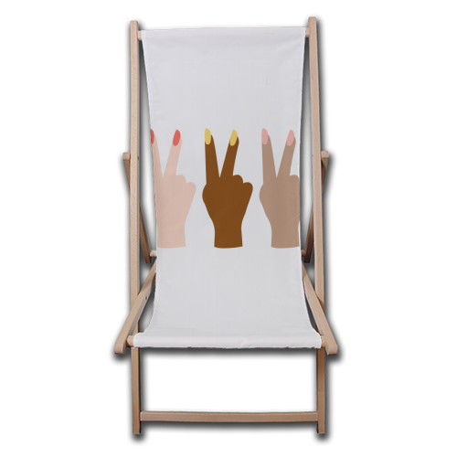 United Diversity Girl Power Peace Signs with Nail Polish - canvas deck chair by Toni Scott