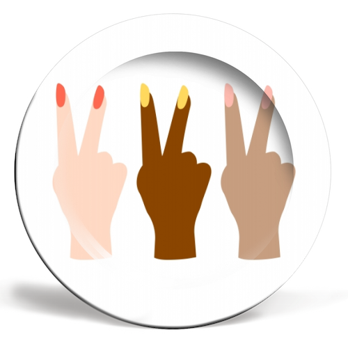 United Diversity Girl Power Peace Signs with Nail Polish - ceramic dinner plate by Toni Scott