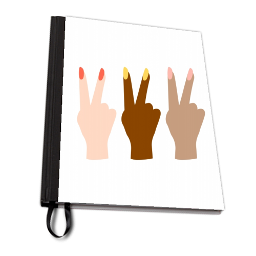 United Diversity Girl Power Peace Signs with Nail Polish - designed notebook by Toni Scott