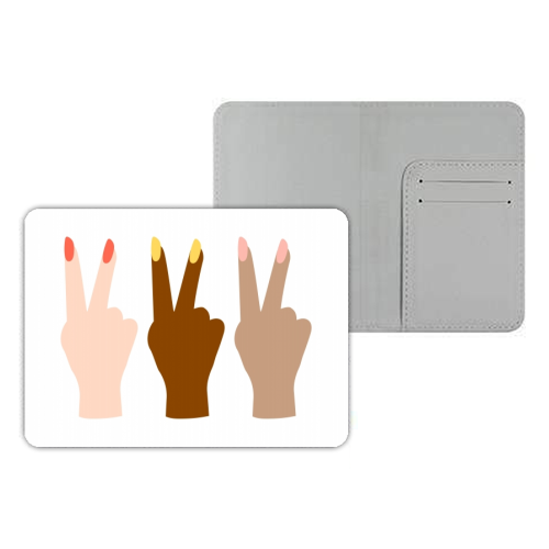United Diversity Girl Power Peace Signs with Nail Polish - designer passport cover by Toni Scott