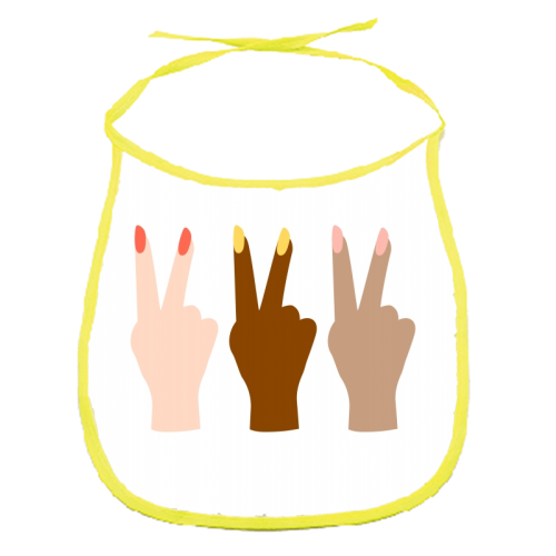 United Diversity Girl Power Peace Signs with Nail Polish - funny baby bib by Toni Scott