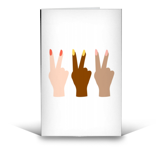 United Diversity Girl Power Peace Signs with Nail Polish - funny greeting card by Toni Scott