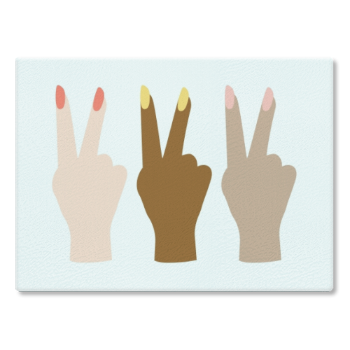 United Diversity Girl Power Peace Signs with Nail Polish - glass chopping board by Toni Scott