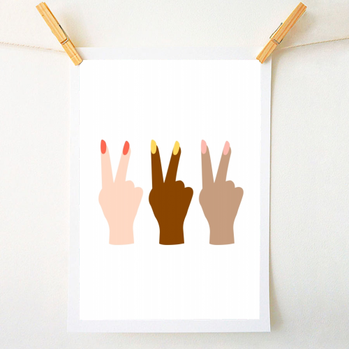 United Diversity Girl Power Peace Signs with Nail Polish - original print by Toni Scott