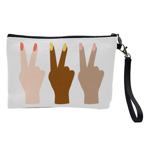 United Diversity Girl Power Peace Signs with Nail Polish - pretty makeup bag by Toni Scott