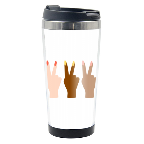 United Diversity Girl Power Peace Signs with Nail Polish - travel water bottle by Toni Scott