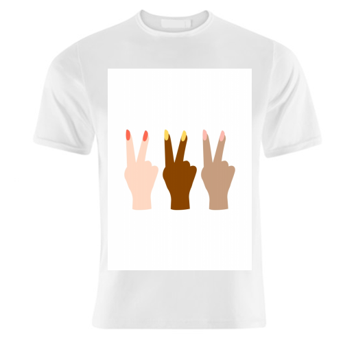 United Diversity Girl Power Peace Signs with Nail Polish - unique t shirt by Toni Scott