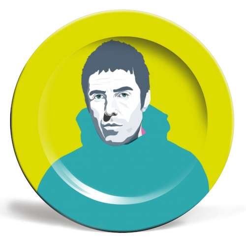 Liam Gallagher Oasis Wonderwall British Music Artist Rocker - ceramic dinner plate by SABI KOZ