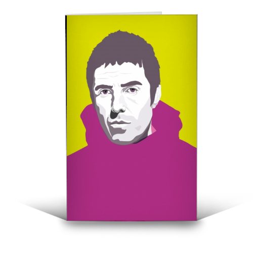 Liam Gallagher Oasis Wonderwall British Music Artist Rocker - funny greeting card by SABI KOZ